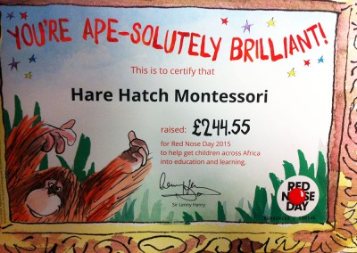 Hare Hatch Montessori - Comic Relief 2015